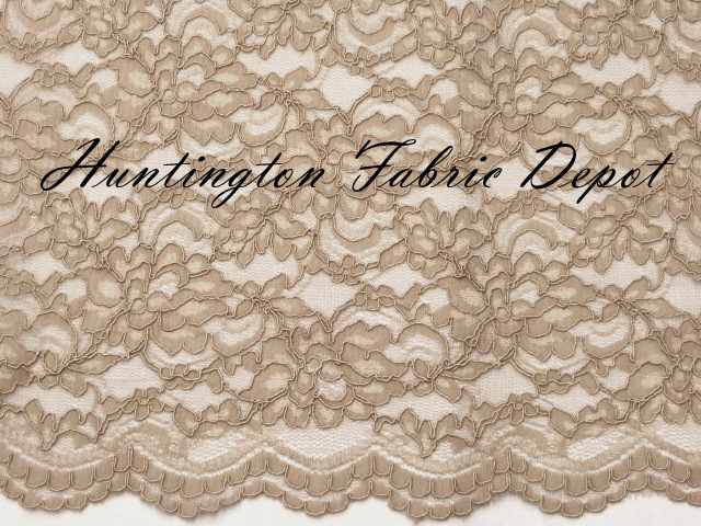 Beige Scalloped Corded Lace Fabric