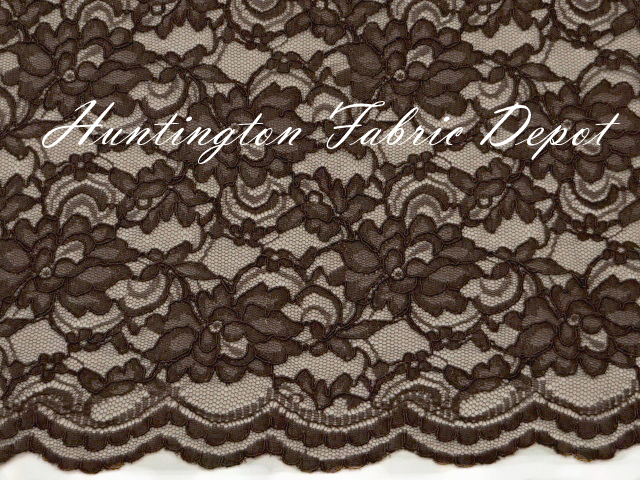 Brown Scalloped Corded Lace Fabric