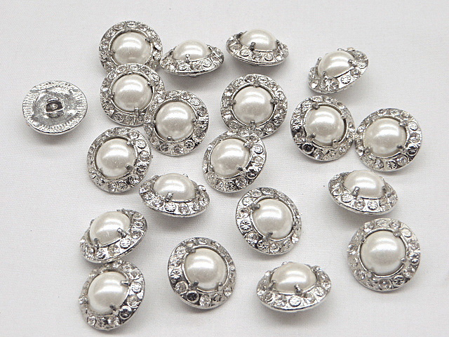 White/Silver Metal Buttons with Clear Rhinestone