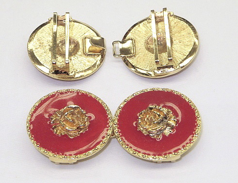 Red/Gold Rose Fashion Cinch Buckle Set