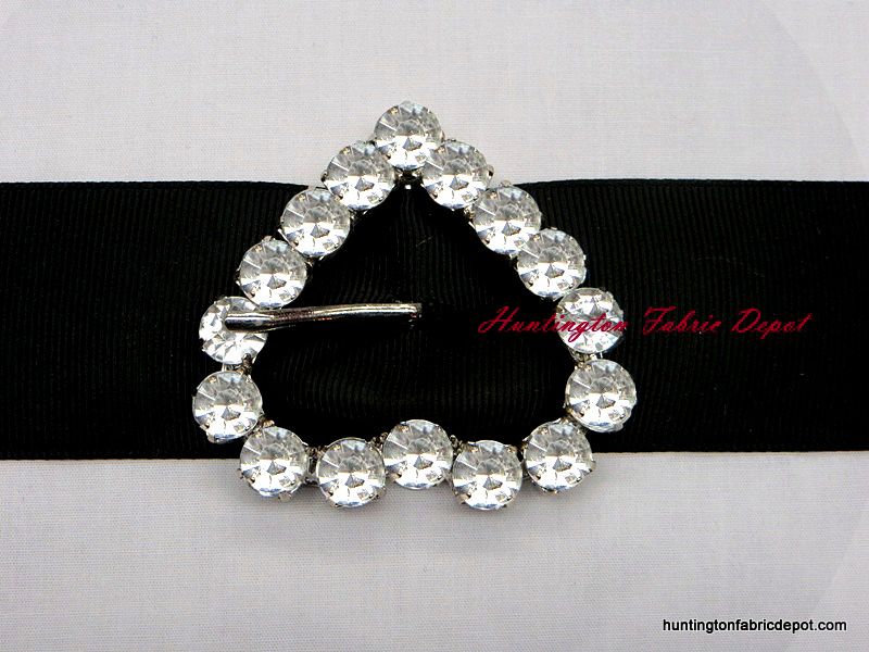 Clear Crystal Decorative Jeweled Heart Buckle