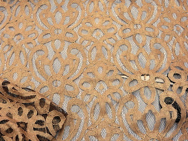 Gold/Black Lace Fabric