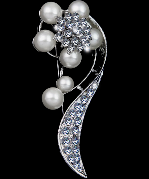 Brilliant Rhinestone and Pearls Brooch Pin