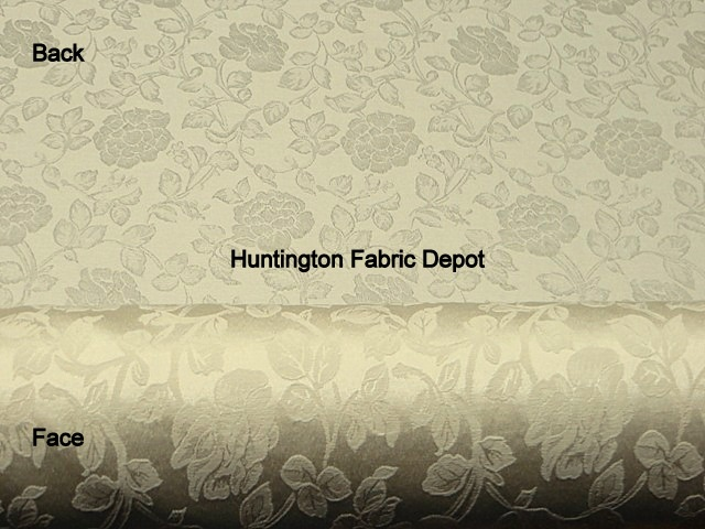 Wheat/Cream Jacquard-Design Floral Vine