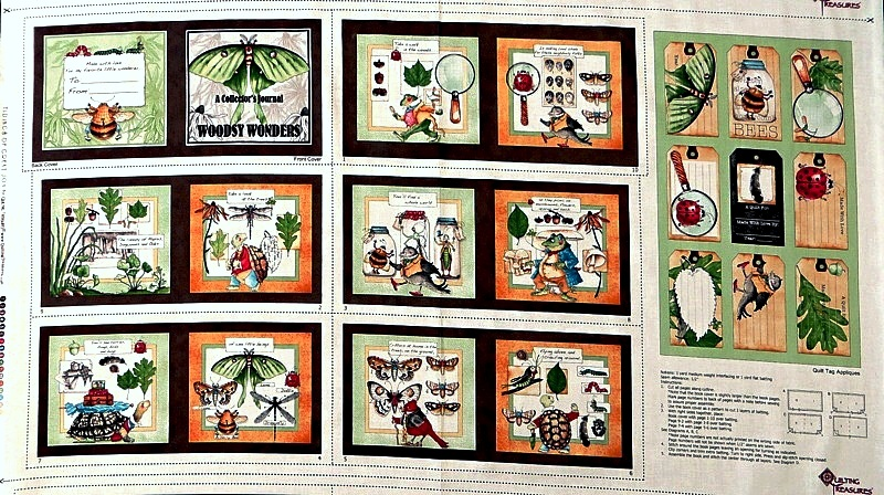 Woodsy Wonders Fabric Book Panel with Quilt Tag Appliques