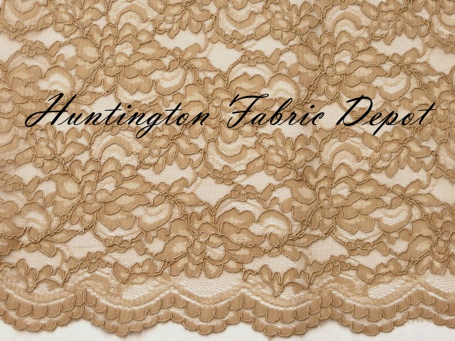 Antique Gold Scalloped Corded Lace Fabric
