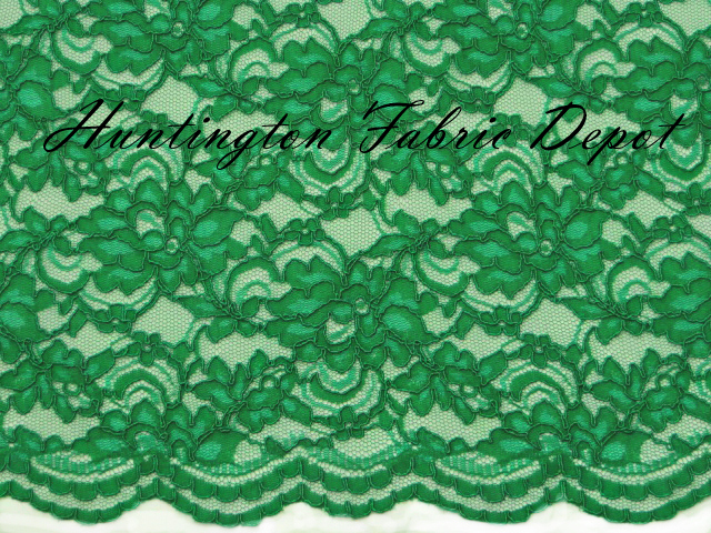 Emerald Scalloped Corded Lace Fabric