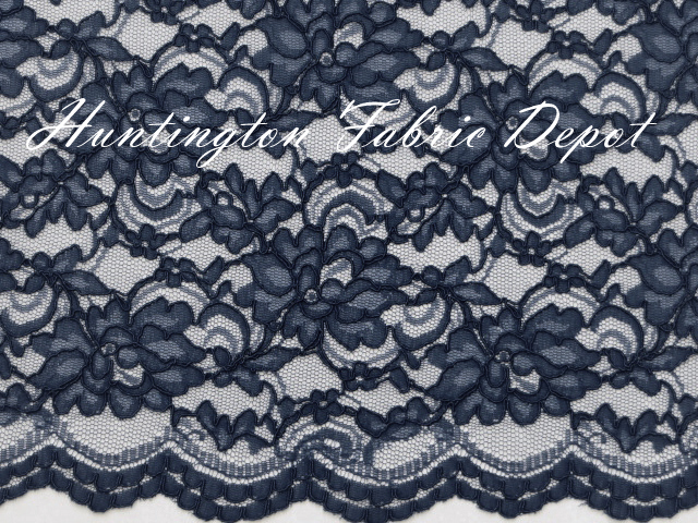 Navy Scalloped Corded Lace Fabric