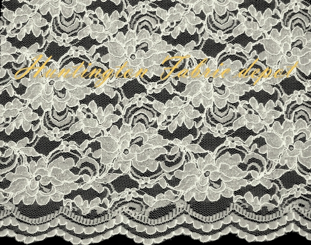 Ivory Scalloped Corded Lace Fabric