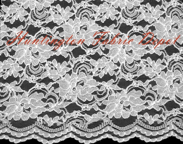 White Scalloped Corded Lace Fabric