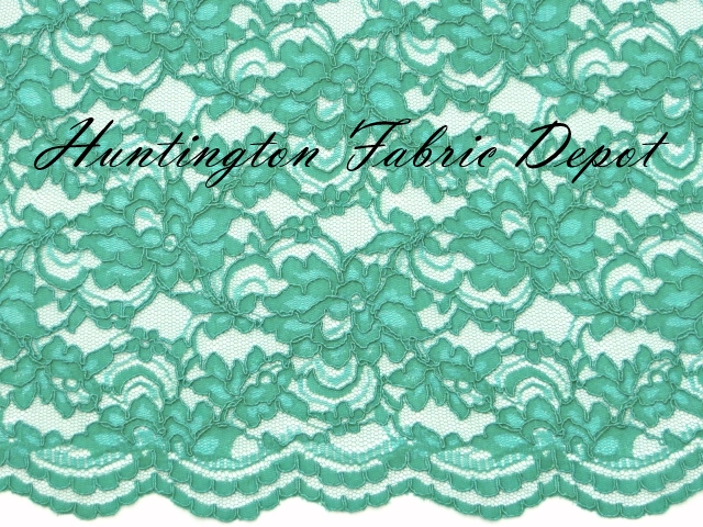 Aqua Scalloped Corded Lace Fabric
