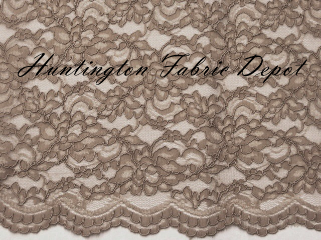 Mink Scalloped Corded Lace Fabric