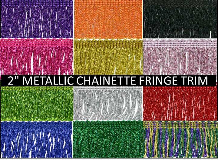 2-inch Metallic Chainette Fringe Trim
