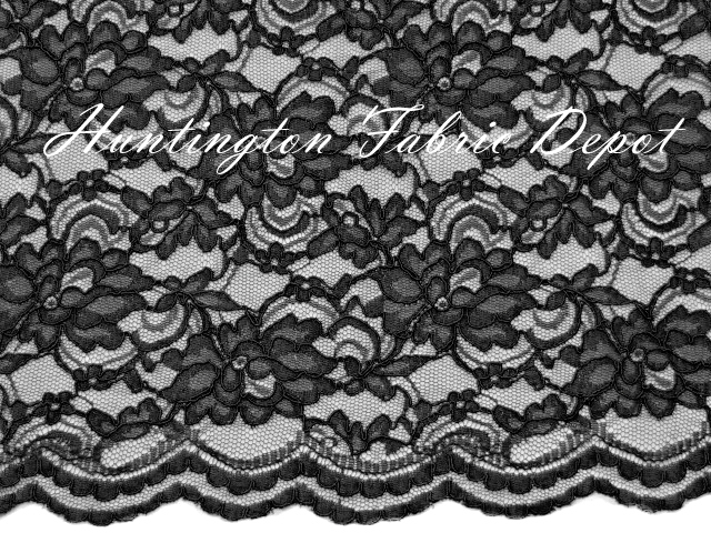 Black Scalloped Corded Lace Fabric