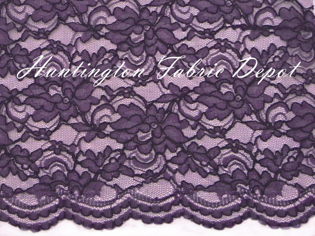 Purple Scalloped Corded Lace Fabric
