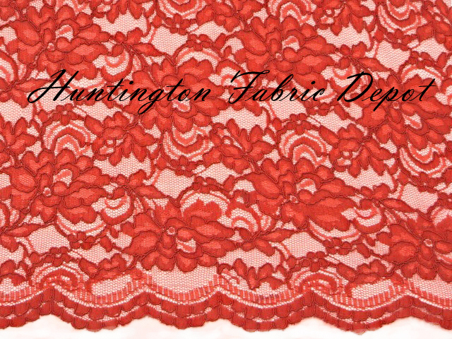 Red Scalloped Corded Lace Fabric