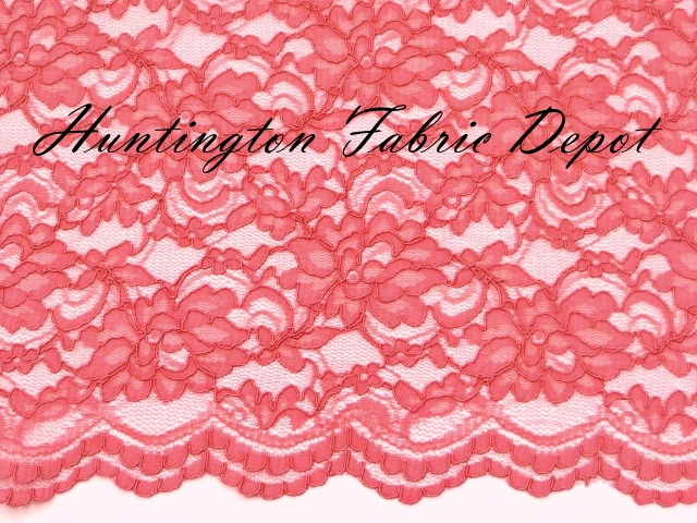 Coral Scalloped Corded Lace Fabric