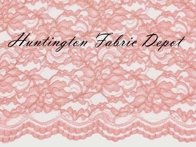 Pink Scalloped Corded Lace Fabric