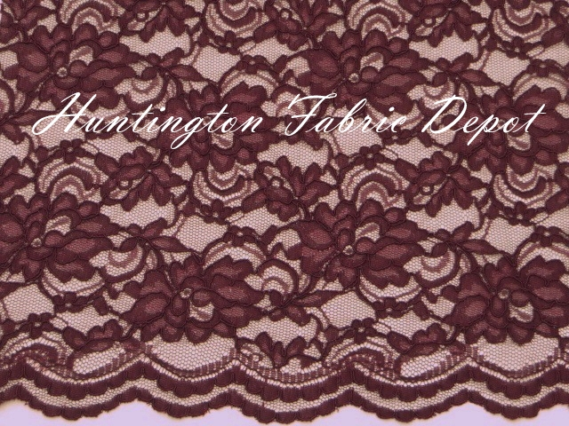 Burgundy Scalloped Corded Lace Fabric