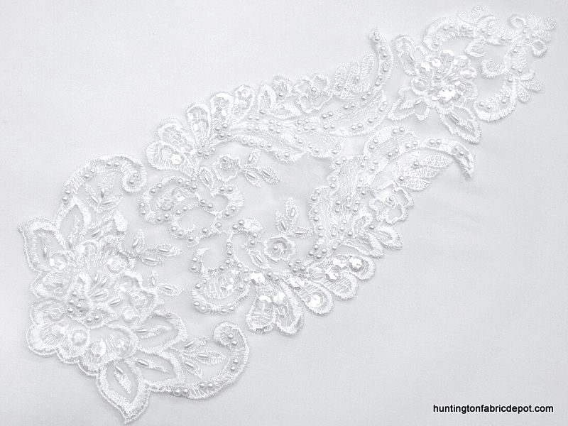 Bridal and Fashion Beaded/Sequin Lace Applique