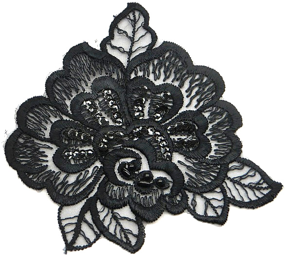 Black lace Motif/Applique with Beads and Sequins