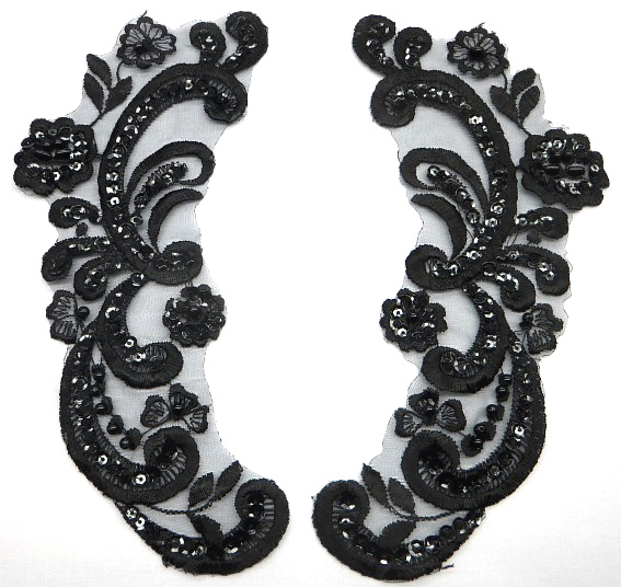 Black lace Applique with Beads and Sequins