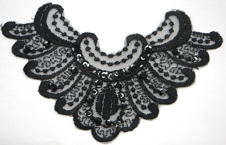 Black lace Motif with Beads and Sequins