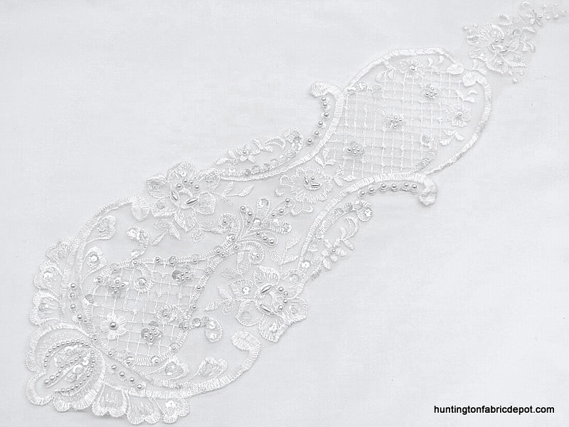Beaded/Sequin White Lace Applique