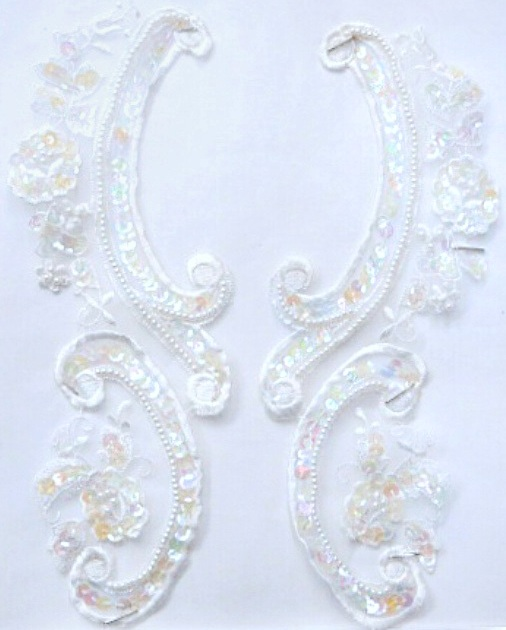 Beaded & Clear Iridescent Sequin Collar Lace Applique