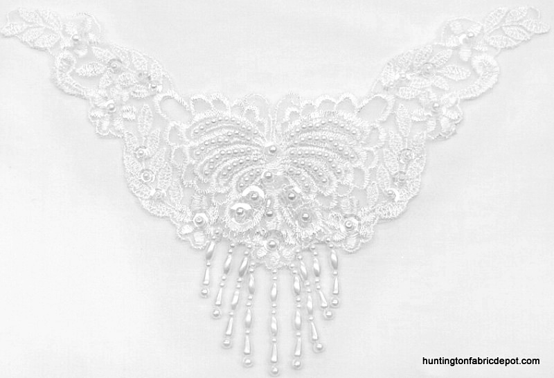 Beaded/Sequin Angel Wings Lace Applique
