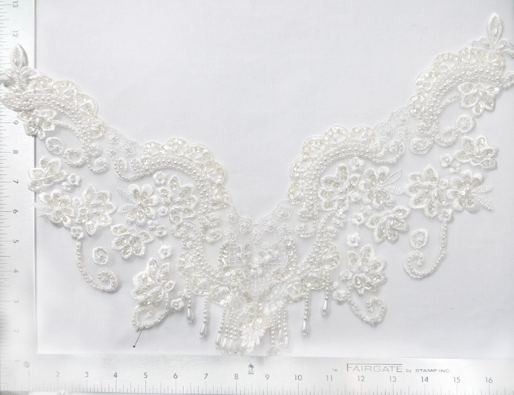 Beaded & Sequin White Collar Lace Applique