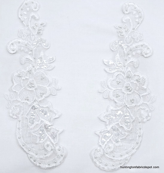 Beaded & Sequin White Lace Applique