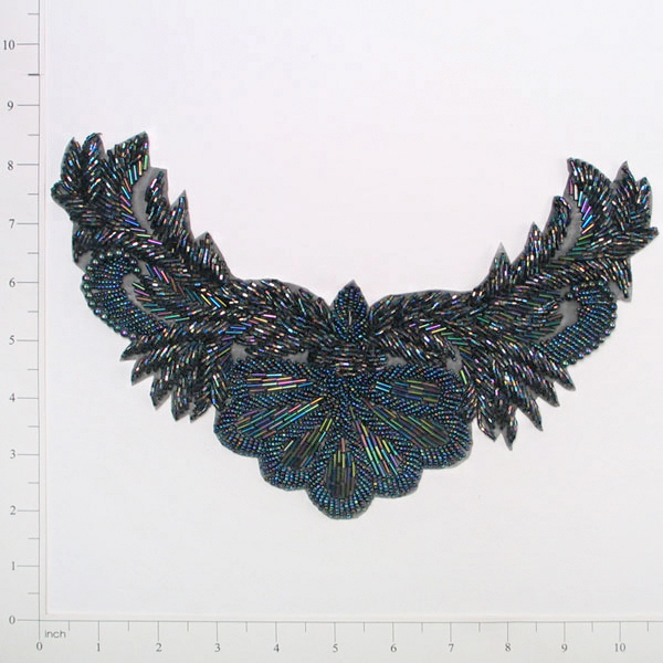 Black Aurora Borealis Beaded Collar Applique