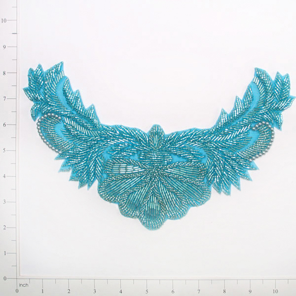 Aqua Blue Beaded Collar Applique