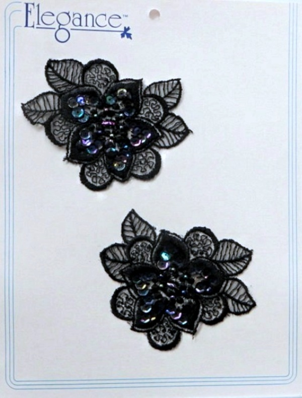 Floral Lace Applique with Beads and Sequin