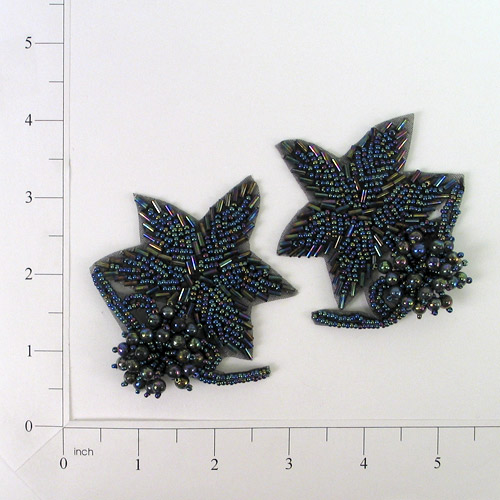 Black Aurora Borealis 3D Beaded Flower Applique