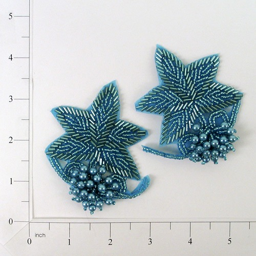 AQUA 3D BEADED FLOWER APPLIQUE