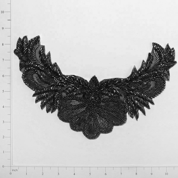 Black Beaded Collar Applique