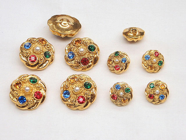 Gold Buttons with Multi Colored Rhinestones