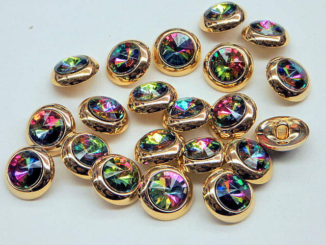 Gold Buttons with ab-rhinestones