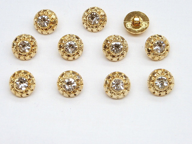 Gold Buttons with Clear Rhinestones
