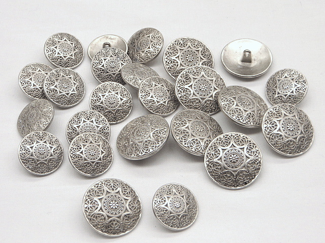 Antique Silver Ornate Buttons