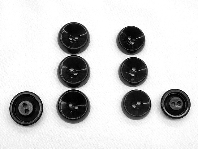 Black 2-Hole Buttons with Raised Border