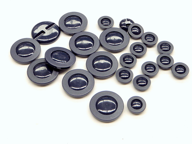Glossy Navy Buttons with Ring Border