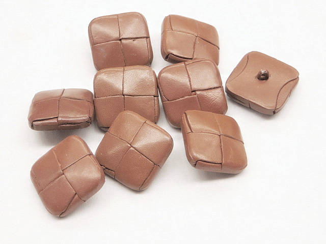Light Brown Faux Leather Square Buttons