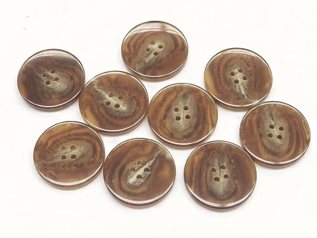 Brown/Beige Marble 4-Hole Smooth Finish Buttons