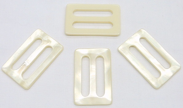 Light Ivory Pearlized Rectangle Fashion Buckle