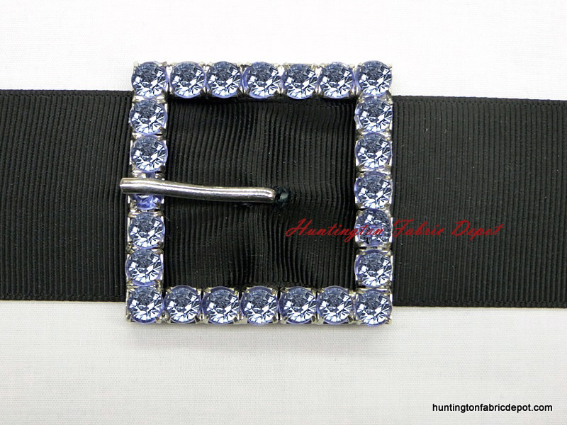 Blue Decorative Jeweled Square Buckle