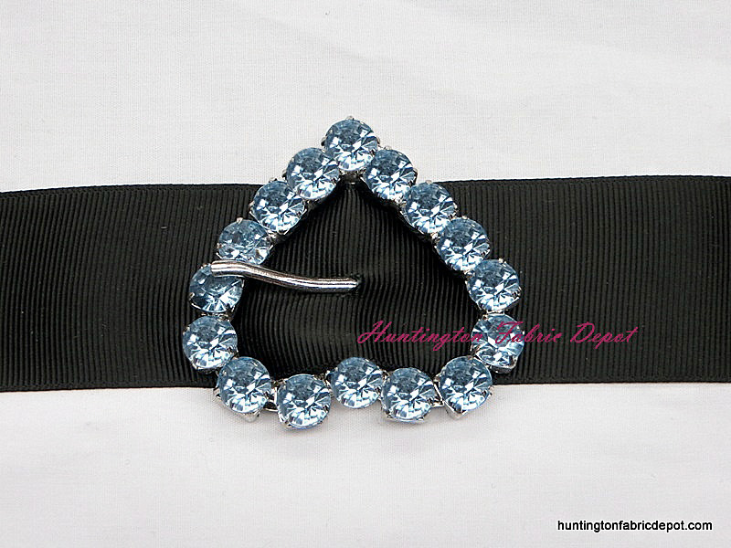 Blue Decorative Jeweled Heart Buckle