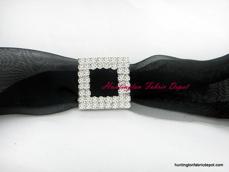 Small Double Row Square Rhinestone Buckle